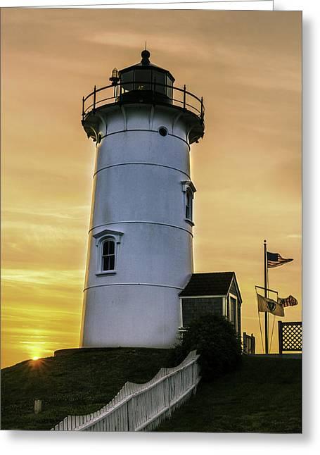 Nobska Lighthouse With Starburst Greeting Card