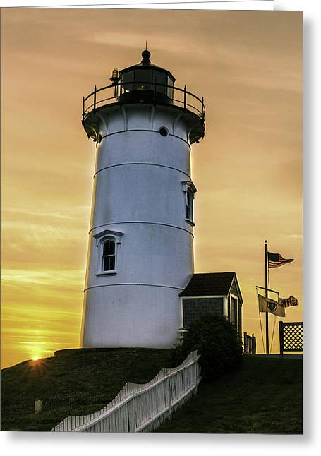 Nobska Lighthouse With Starburst Greeting Card
