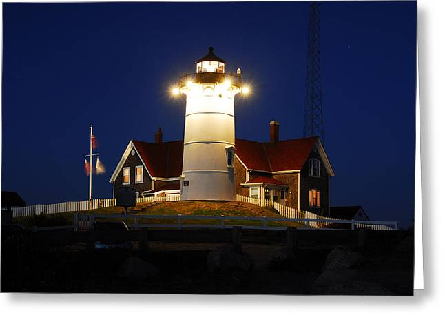 Nobska Point Light Greeting Card by Dan Myers