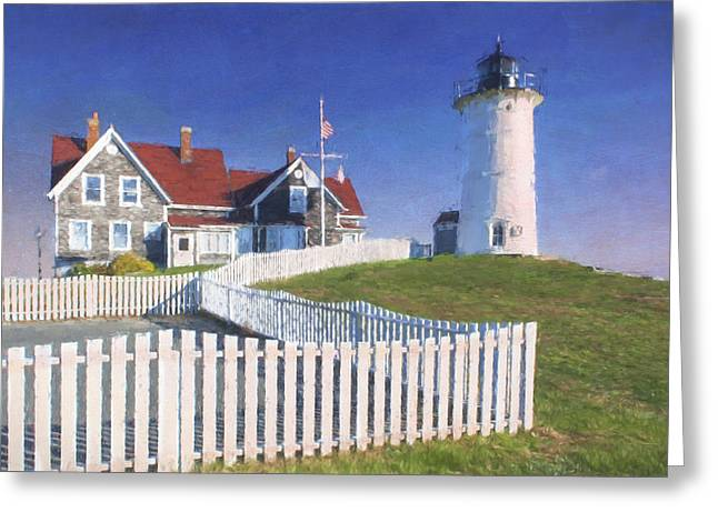 Nobska Point Lighthouse Greeting Card by Jean-Pierre Ducondi