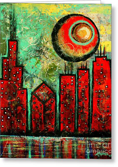 Noche Roja - Red Night - Art By Laura Gomez Greeting Card