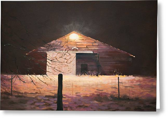 Greeting Card featuring the painting Nocturnal Barn by Rebecca Matthews