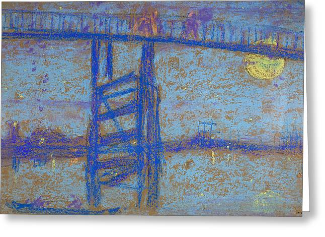 Nocturne. Battersea Bridge Greeting Card by James Abbott McNeill Whistler