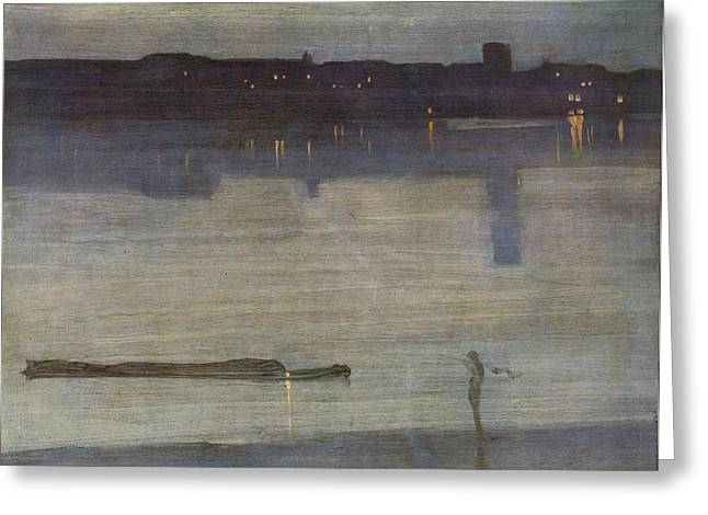 Nocturne In Blue And Green Greeting Card by James Abbott McNeill Whistler
