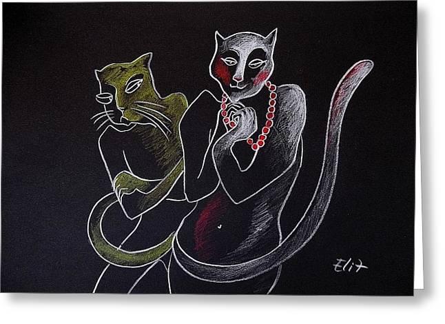 Nocturnes. Bestiary-13. Jealousy Greeting Card by Elisheva Nesis