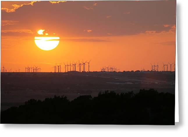 Nolan County Sunset Greeting Card by Miriam Tiritilli