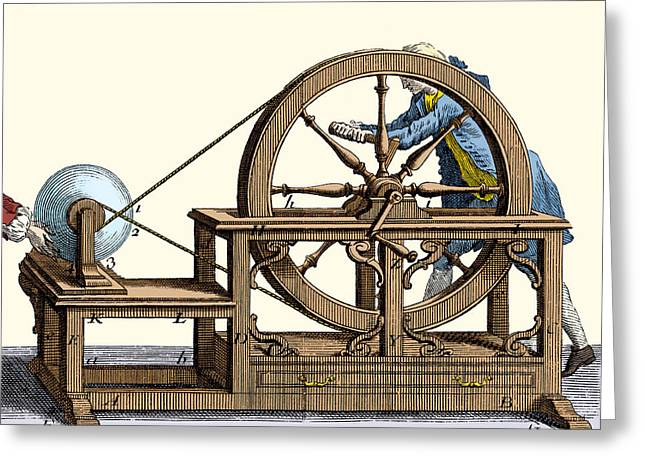 Nollet Electrostatic Machine, 1750 Greeting Card by Wellcome Images