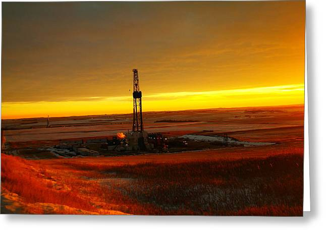 Nomac Drilling Keene North Dakota Greeting Card by Jeff Swan