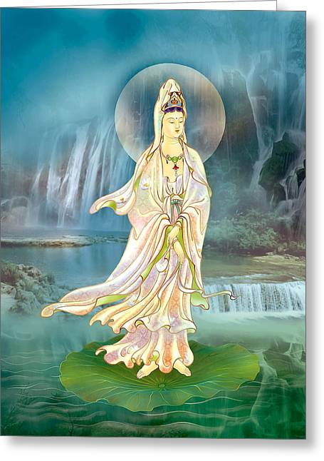 Non-dual Kuan Yin Greeting Card by Lanjee Chee
