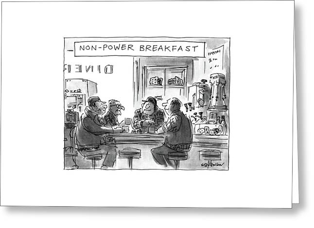 Non-power Breakfast Greeting Card by James Stevenson