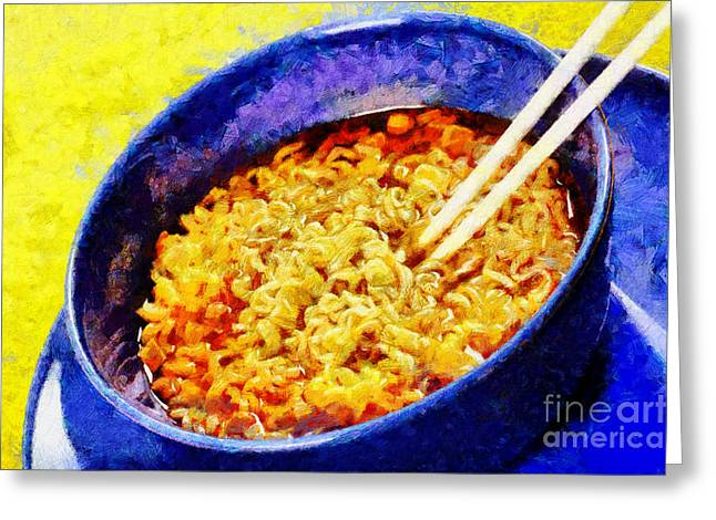 Noodle With Wooden Chopsticks Painting Greeting Card by Magomed Magomedagaev