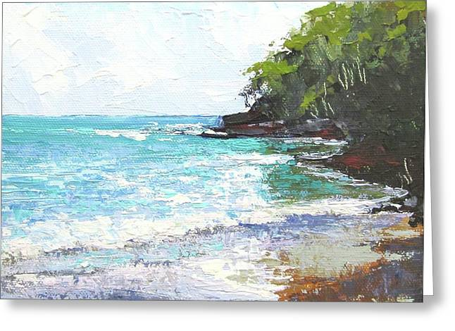 Greeting Card featuring the painting Noosa Heads Main Beach Queensland Australia by Chris Hobel