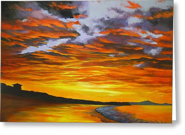 Greeting Card featuring the painting Noosa Sunset by Chris Hobel