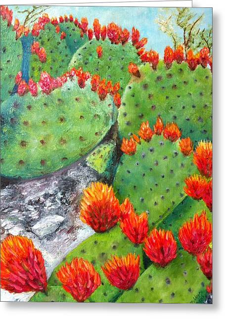 Nopal With Red Flowers  Greeting Card by Nora Vega