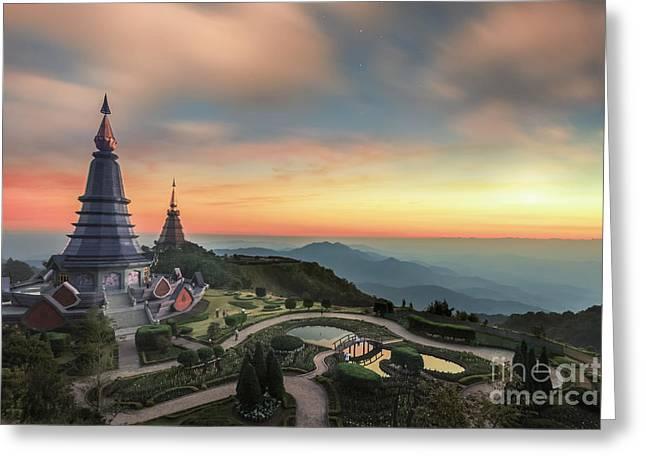 Noppha Methanidon-noppha Phon Phum Siri Stupa Greeting Card by Anek Suwannaphoom