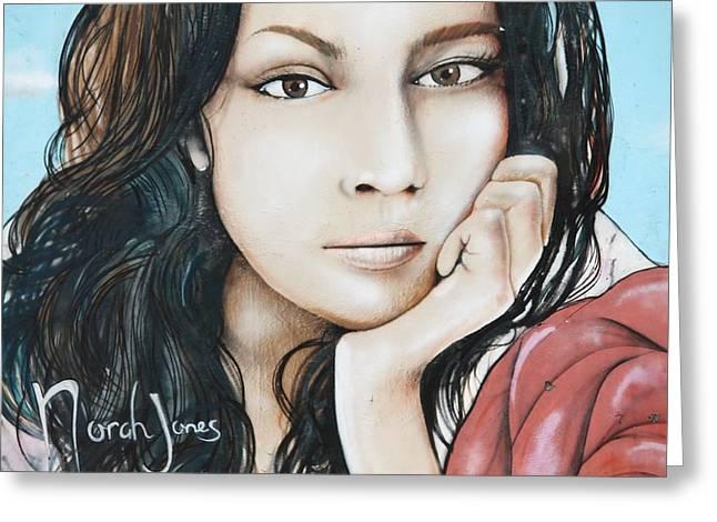 Norah Jones Mural II Greeting Card by Lorri Crossno