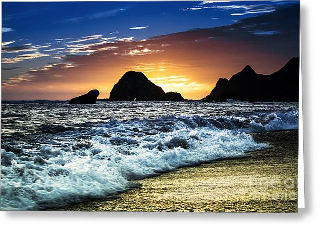 Norcal Sunset On Jenner Beach Greeting Card