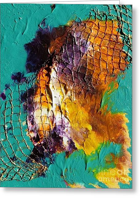 Greeting Card featuring the painting Nordic Abstract by Susanne Baumann
