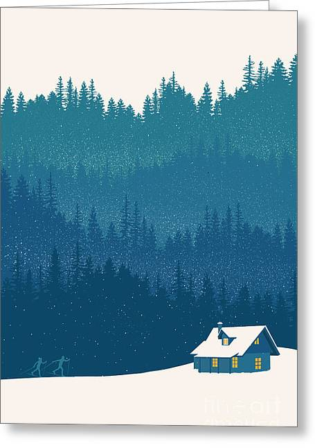 Nordic Ski Scene Greeting Card by Sassan Filsoof