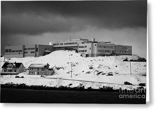 Nordkapp Maritime College And High School Overlooking Honningsvag Harbour Finnmark Norway Europe Greeting Card