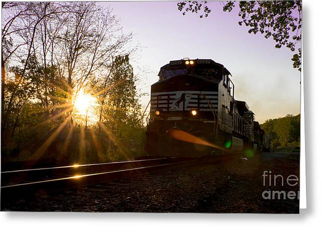 Norfolk And Southern At Sunset Greeting Card