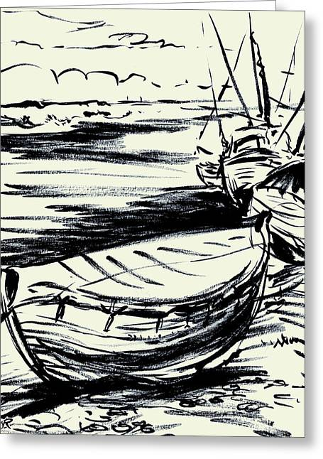 Norfolk Crab Boat Greeting Card by William Rowsell