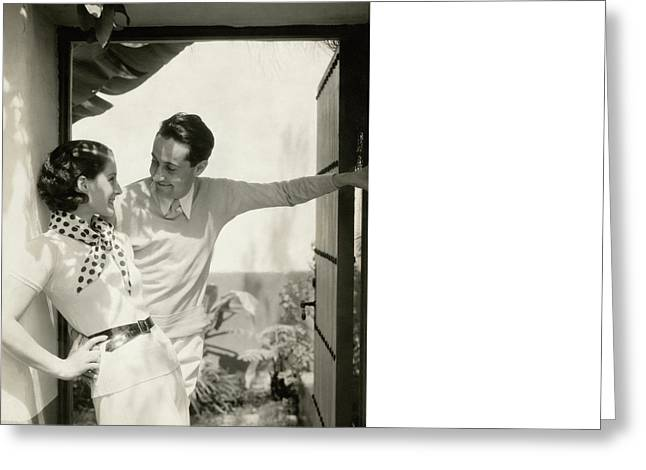 Norma Shearer And Irving Thalberg In A Garden Greeting Card by Edward Steichen