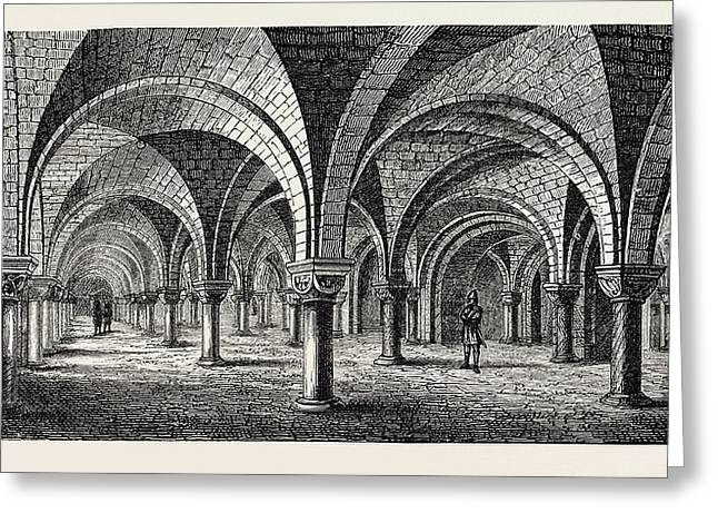 Norman Architecture Crypt Of Canterbury Cathedral Greeting Card