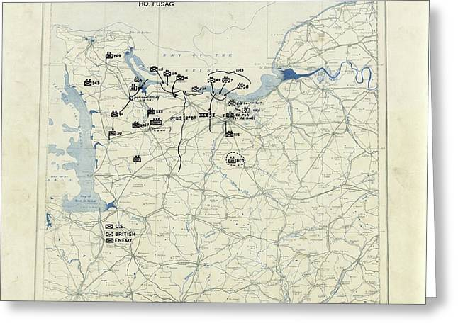 Normandy Campaign Map Greeting Card by Library Of Congress, Geography And Map Division