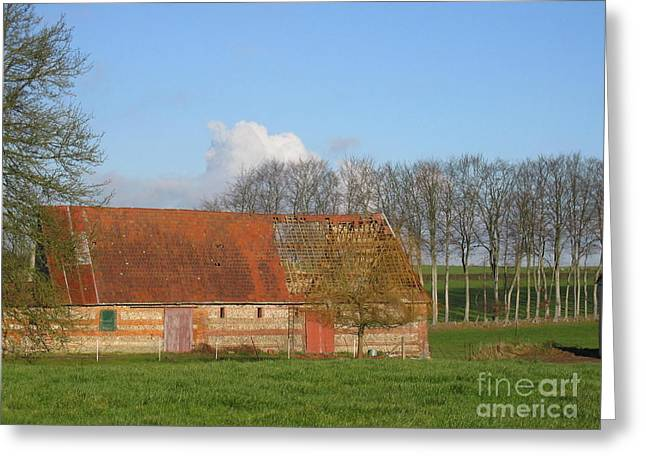 Normandy Storm Damaged Barn Greeting Card