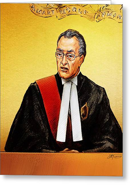 Nortel Verdict - Mr. Justice Marrocco Reads Non-guilty Ruling Greeting Card by Alex Tavshunsky