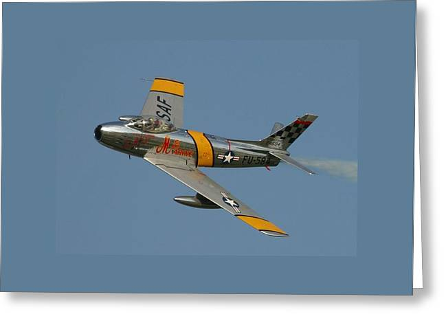 North American F 86 Sabre John Glenn Border Greeting Card by L Brown