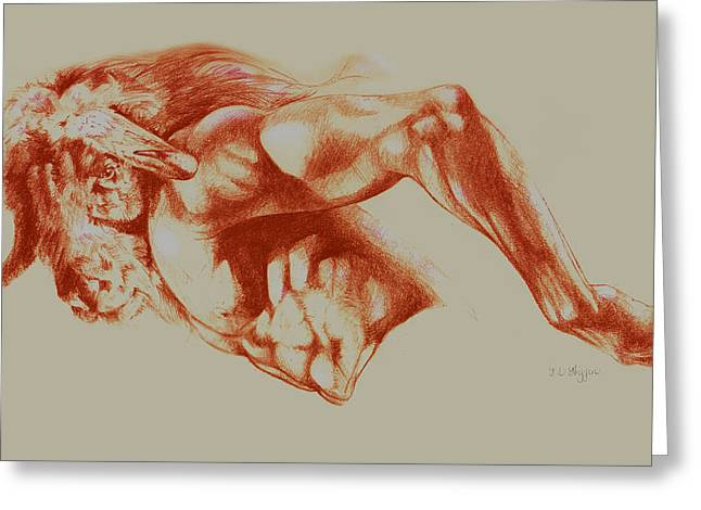 North American Minotaur Red Sketch Greeting Card
