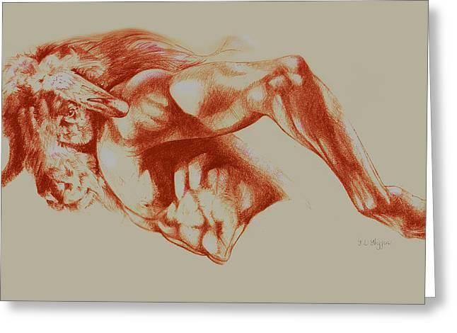 North American Minotaur Red Sketch Greeting Card by Derrick Higgins