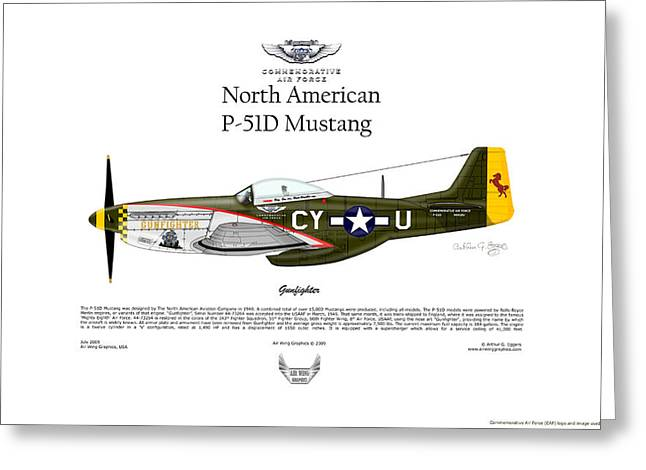 North American P-51d Mustang Gunfighter Greeting Card by Arthur Eggers