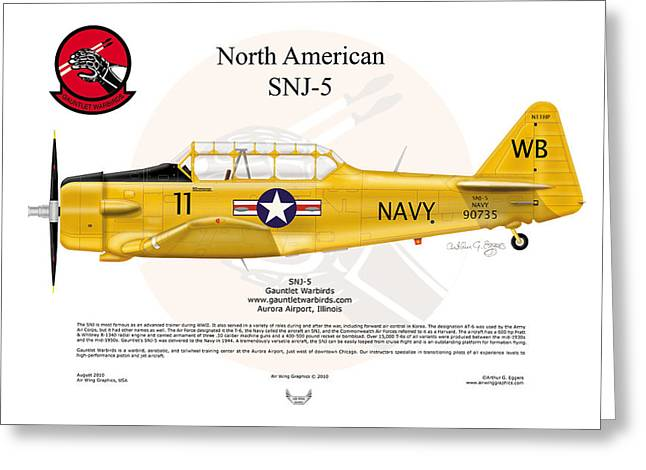 North American Snj-5 Greeting Card by Arthur Eggers