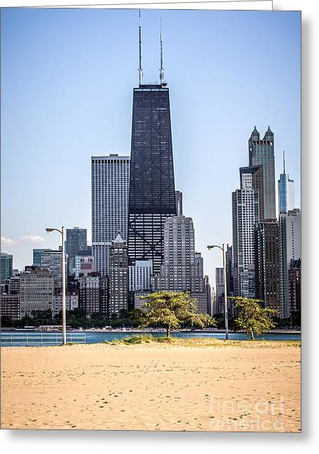 North Avenue Beach With Chicago Skyline Greeting Card