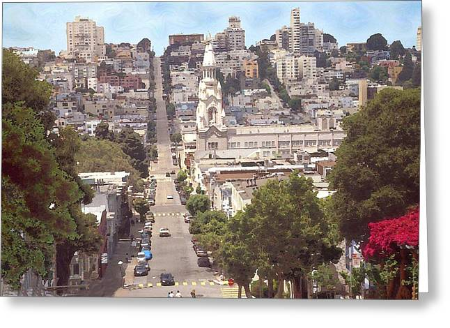 North Beach San Francisco Greeting Card by Art America Gallery Peter Potter