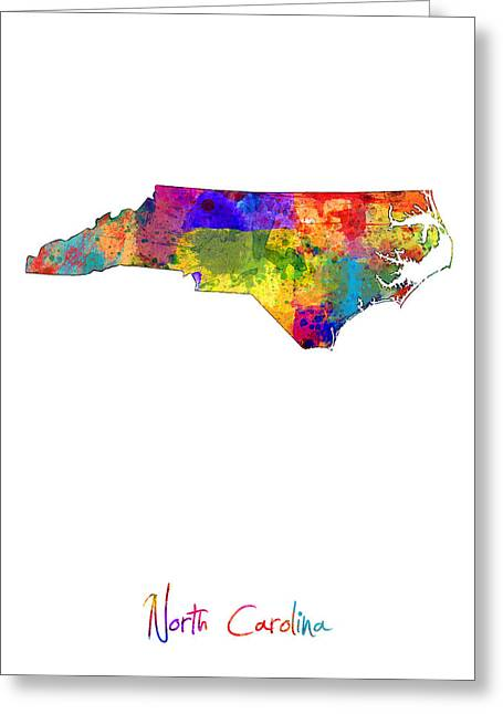 North Carolina Map Greeting Card by Michael Tompsett