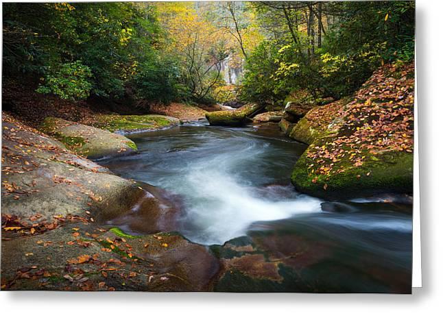North Carolina Mountain River In Autumn Fall Foliage Greeting Card