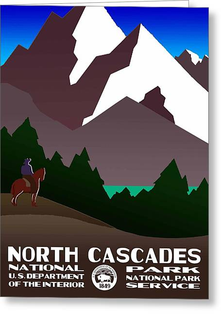 North Cascades National Park Vintage Poster Greeting Card by Eric Glaser
