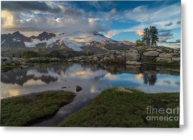 North Cascades Tarn Reflection Greeting Card by Mike Reid