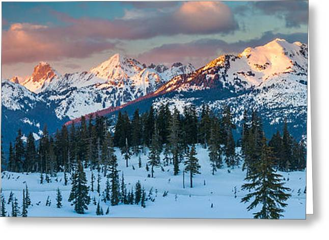 North Cascades Greeting Cards - North Cascades Winter Panorama Greeting Card by Inge Johnsson