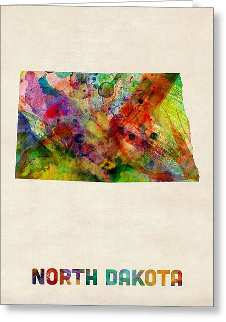 North Dakota Watercolor Map Greeting Card