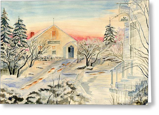 North End In Snow Greeting Card by Melly Terpening