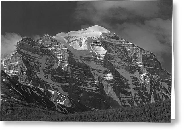 203553-north Face Mt. Temple Bw Greeting Card