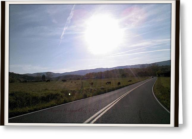 North Fork Road Elliston Greeting Card by Angelia Hodges Clay