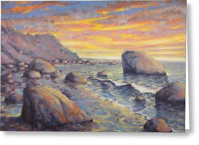 North Fork Sunset Greeting Card by Gary Long