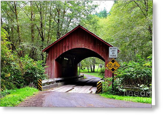 North Fork Yachats Covered Bridge Greeting Card