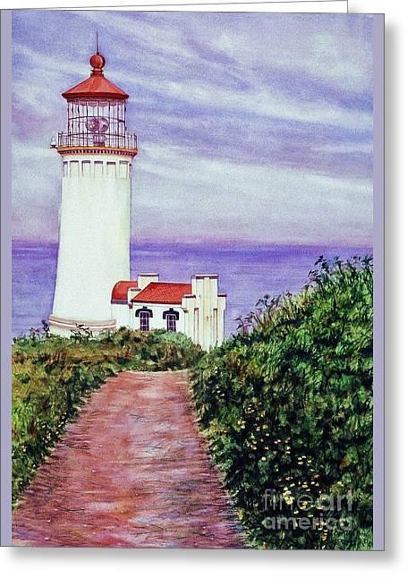North Head Light House On The Washington Coast Greeting Card by Cynthia Pride